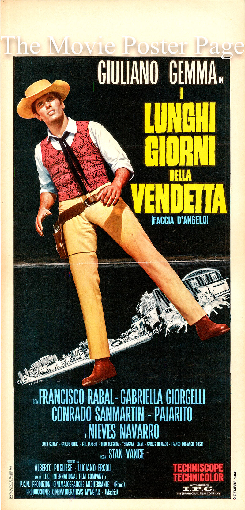 Pictured is the Italian locandina promotional poster for the 1967 Florestano Vancini film Vendetta, starring Giuliano Gemma.