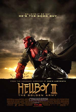 Pictured is the US one-sheet promotional poster for the 2008 Guillermo del Toro film Hellboy II starring Ron Perlman.