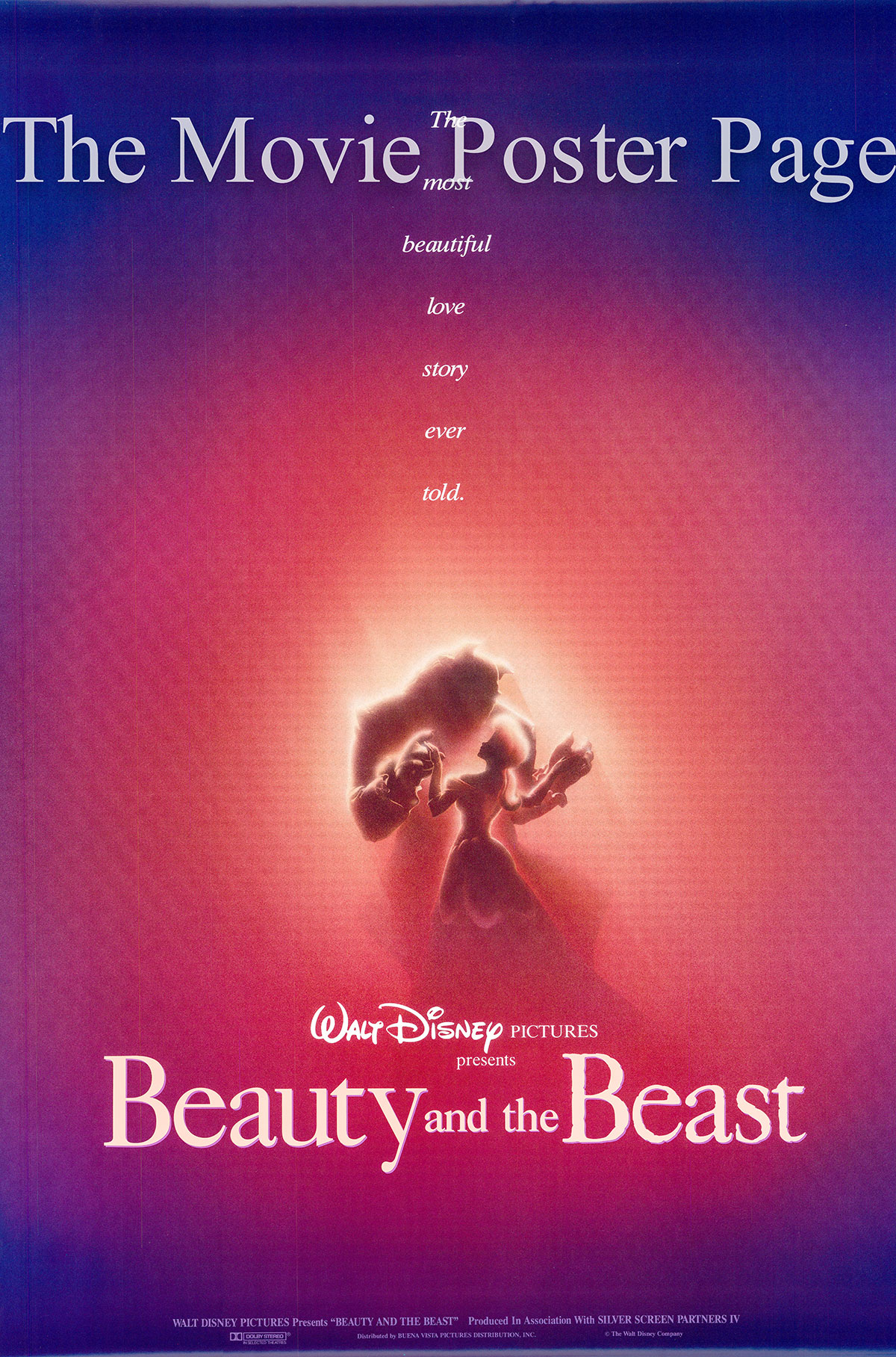 Pictured is a US advance one-sheet poster for the 1991 Gary Trousdale and Kirk Wise Disney production Beauty and the Beast starring Paige O'Hara as the voice of Belle.