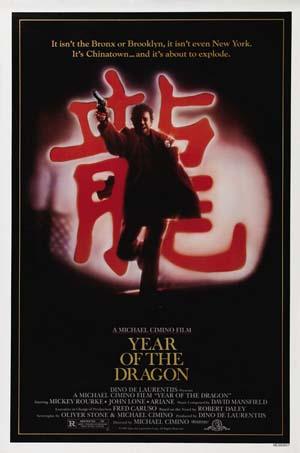 Pictured is the US one-sheet promotional poster for the 1985 Micheal Cimino film Year of the Dragon starring Mickey Rourke.