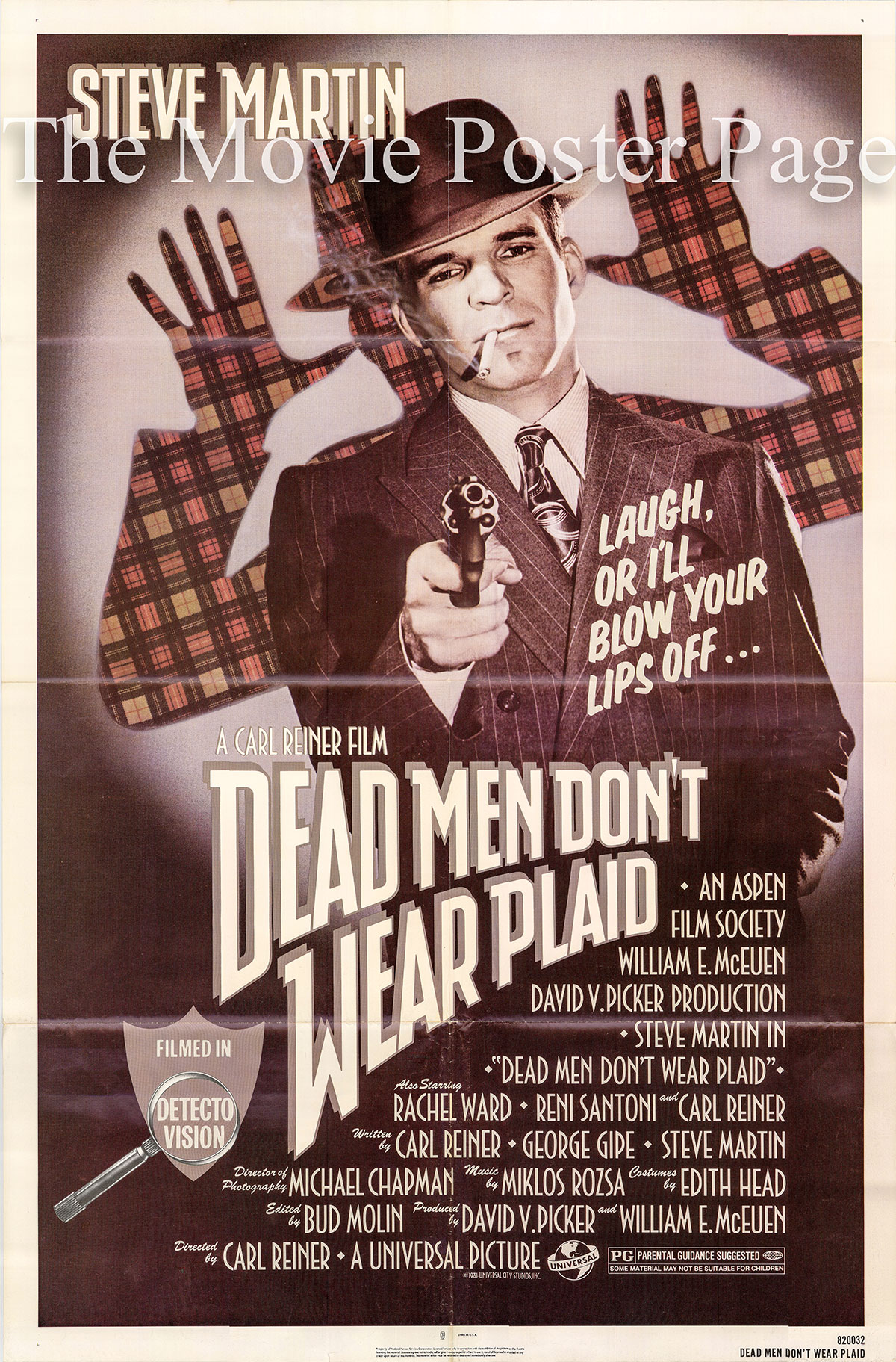 Pictured is a US one-sheet for the 1982 Carl Reiner film Dead Men Don't Wear Plaid starring Steve Martin as Rigby Reardon.