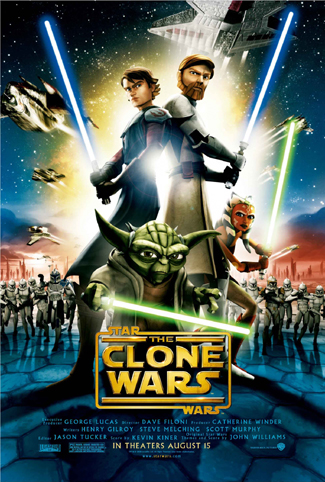Pictured is the US one-sheet promotional poster for the 2008 Dave Filoni film Star Wars: The Clone Wars starring Samuel L. Jackson.