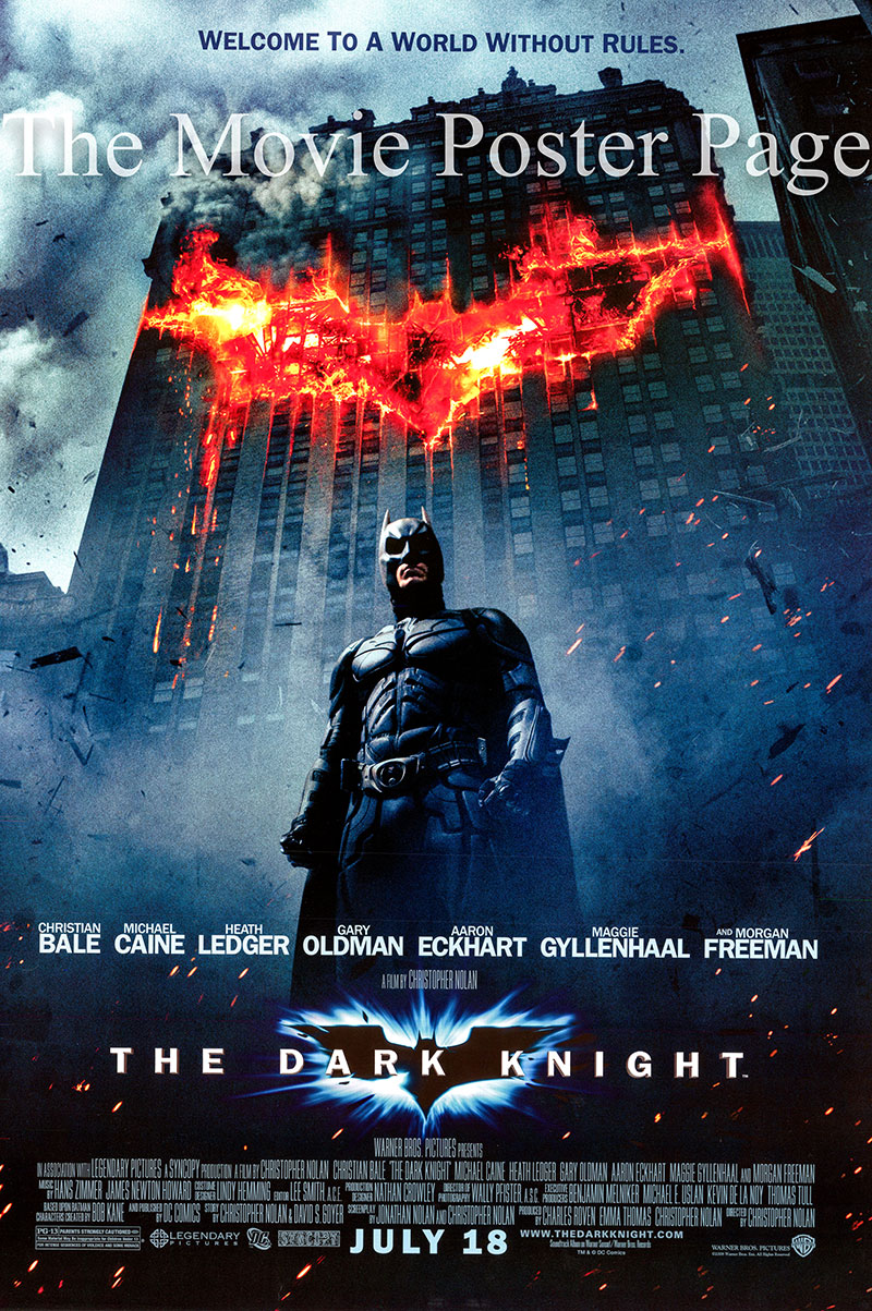 Pictured is the US one-sheet promotional poster for the 2008 Christopher Nolan film The Dark Knight starring Christian Bale and Heath Ledger.