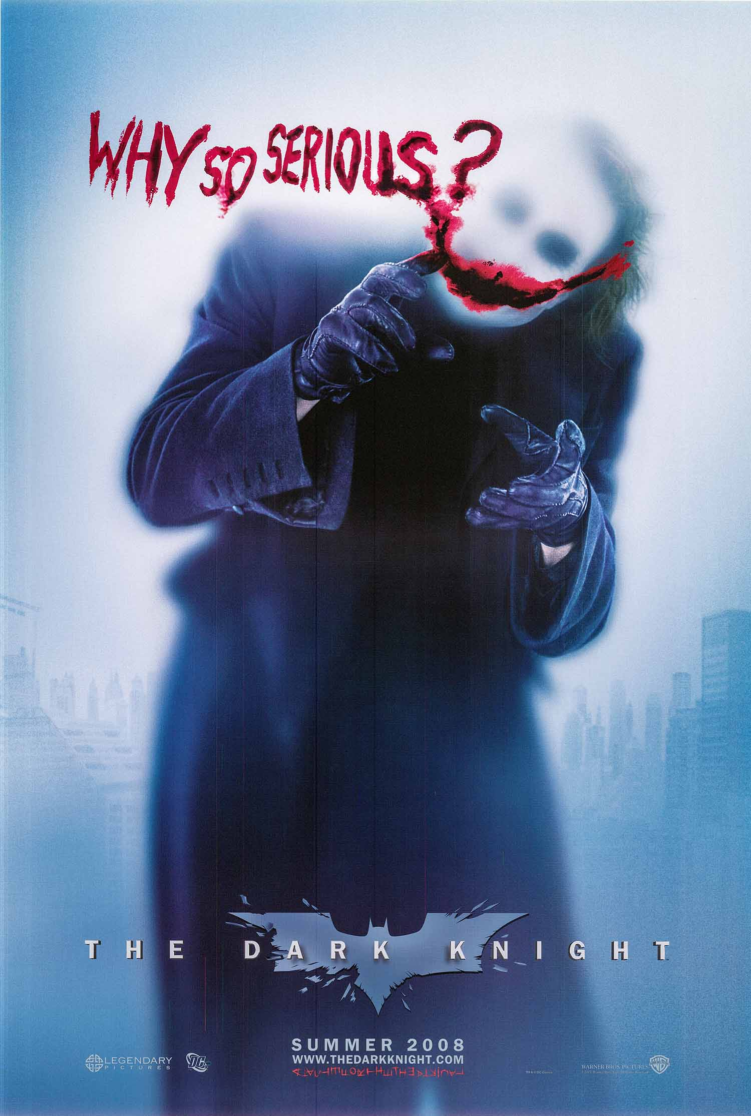 Pictured is the advance blurry joker style US one-sheet promotional poster for the 2008 Christopher Nolan film The Dark Knight starring Christian Bale and Heath Ledger.
