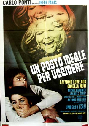 Pictured is the Italian two-sheet promotional poster for the 1971 Carlo Ponti film An Ideal Place to Kill starring Irene Pappas.