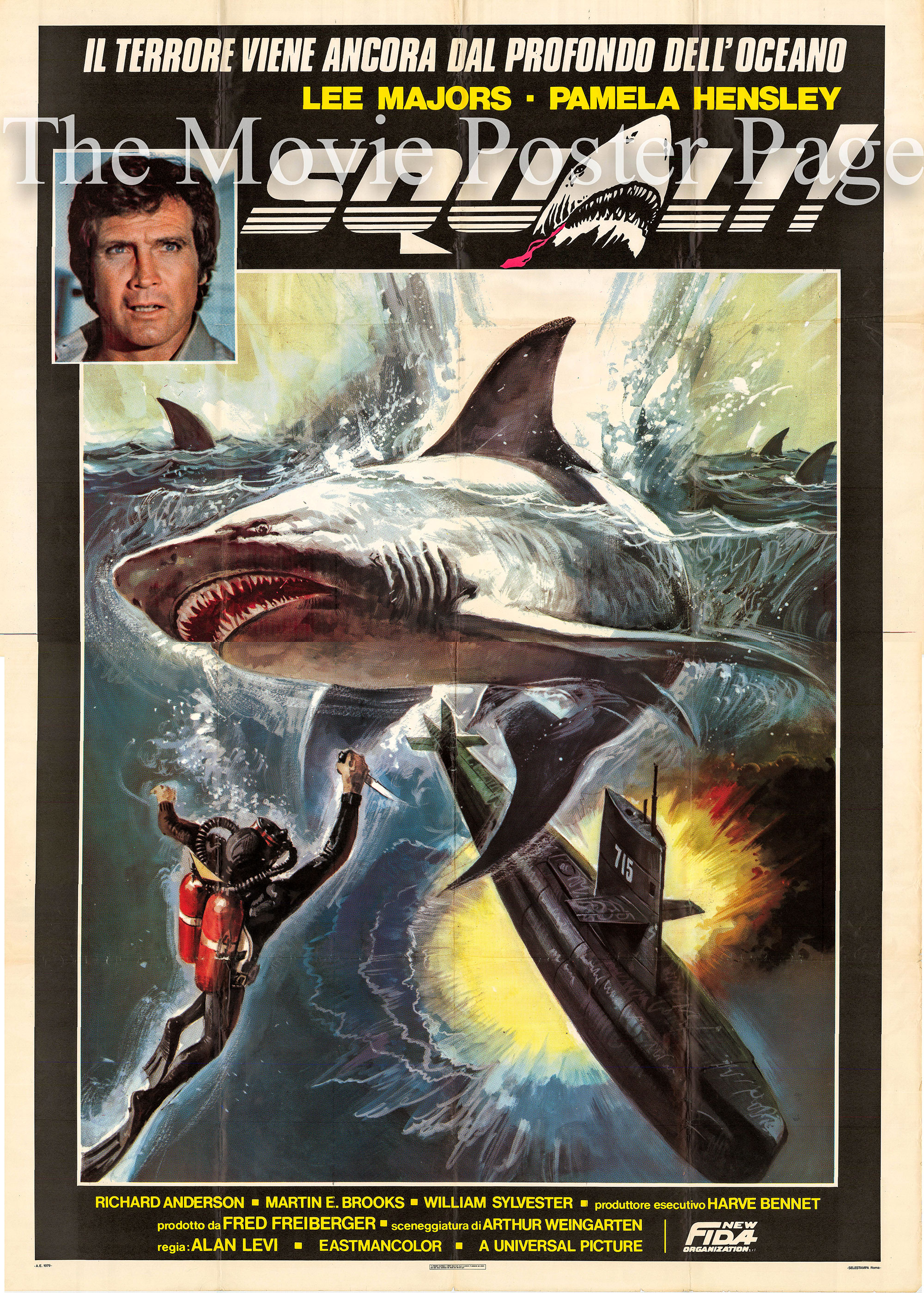 Pictured is an Italian four-sheet promotional poster for a 1979 rerelease of the 1977 Alan J. Levi TV film Sharks starring Lee Majors, from <i>The Six Million Dollar Man</i>.