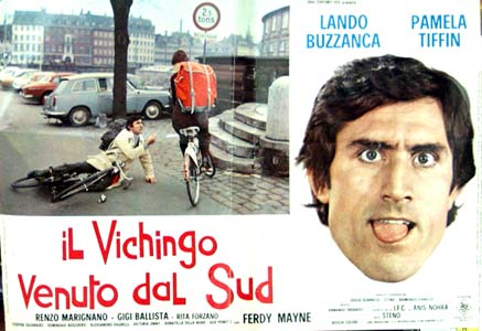 Pictured is the Italian photobusta poster for the 1971 Steno film The Viking Who Came from the South starring Lando Buzzanca.