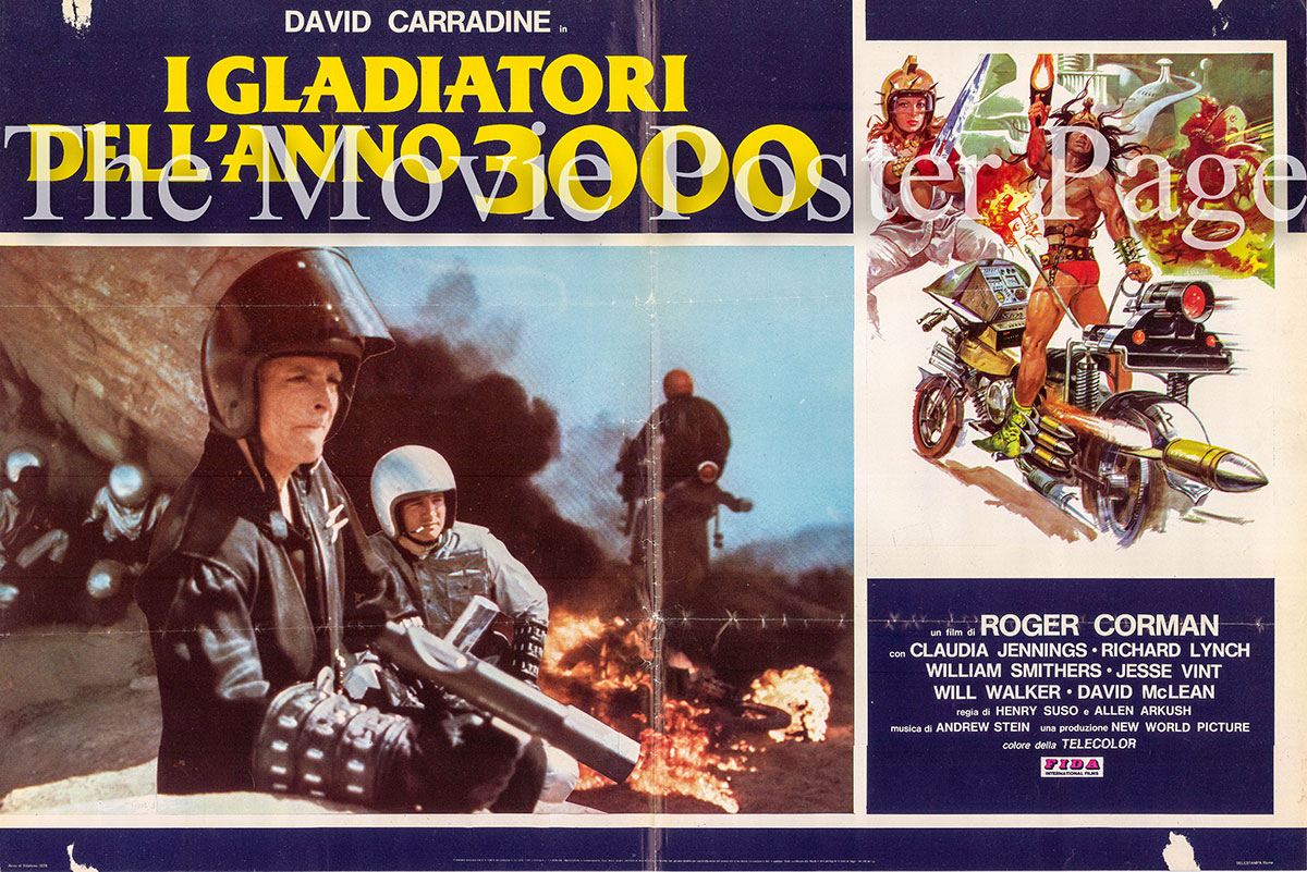 Pictured is an Italian photobusta poster for the 1978 Roger Corman film Deathsport starring David Carradine as Kaz Oshay.