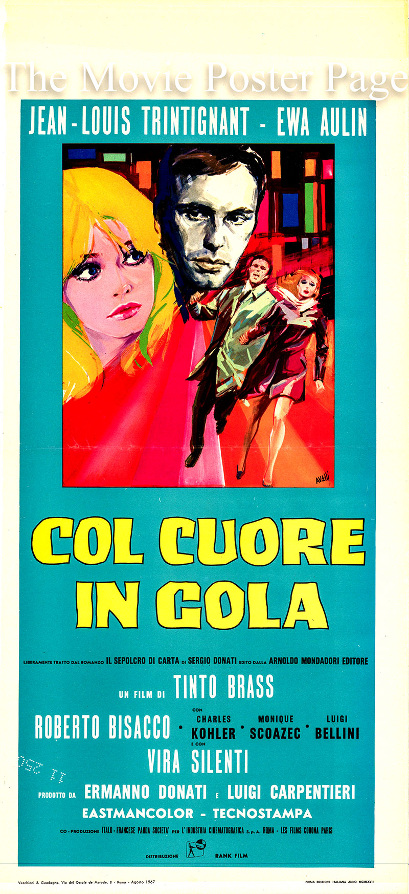 Pictured is an Italian locandina promotional poster for the 1967 Tinto Brass film Dead Stop starring Jean-Louis Trintignant.