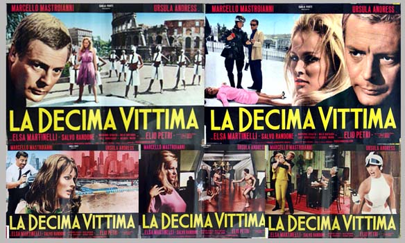 Pictured are five Italian photobusta promotional posters for the 1965 Elio Petri film The Tenth Victim, starring Marcello Mastroianni and Ursula Andress.
