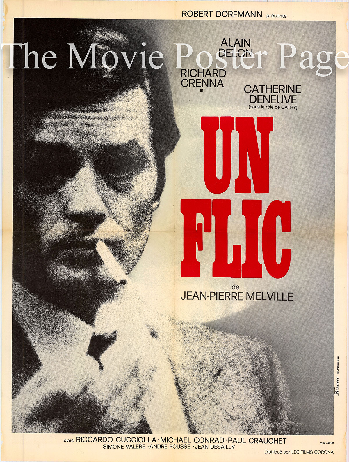 Pictured is a French 23x31 promotional film poster for the 1972 Jean-Pierre Melville film Dirty Money starring Alain Delon.