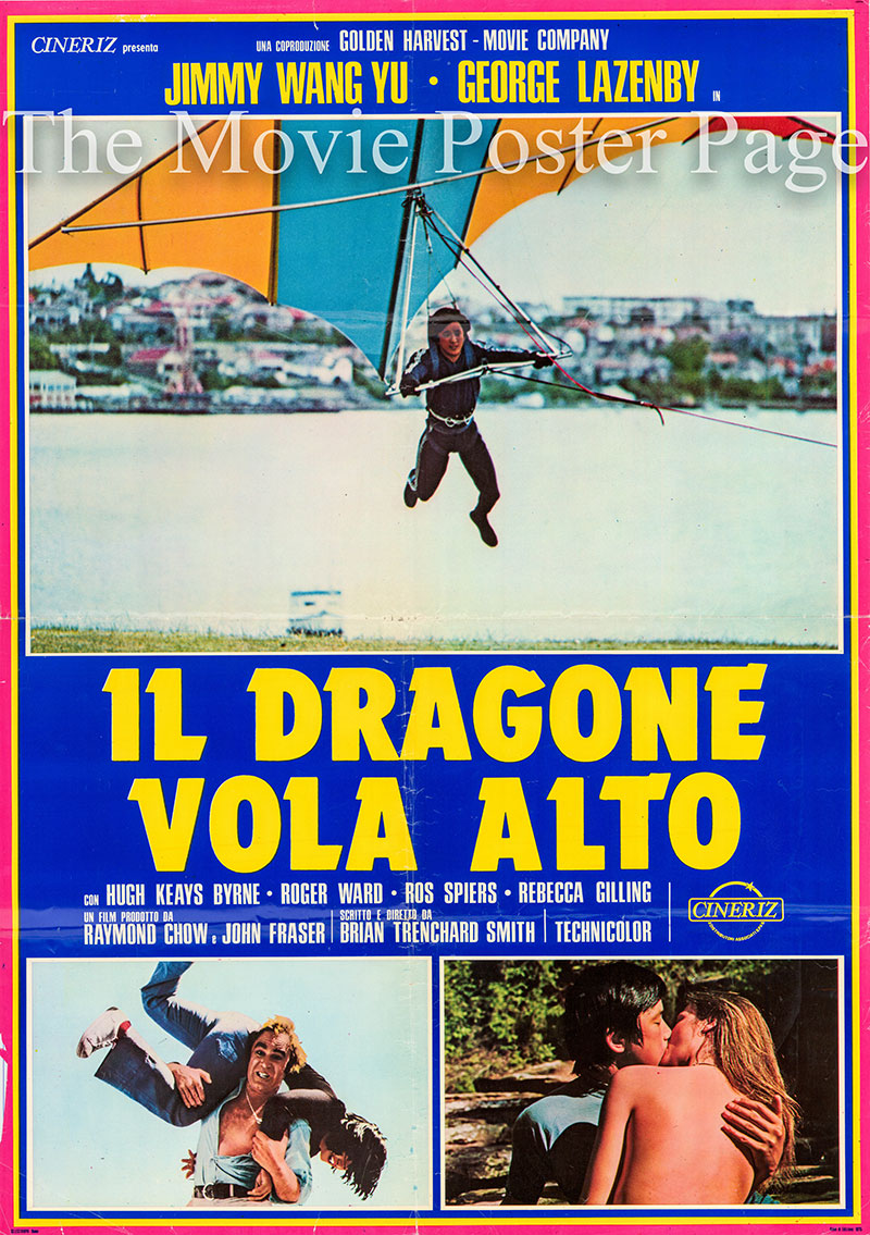 Pictured is the Italian double busta promotinal film poster for the 1975 Brian Trenchard Smith and Jimmy Wang Yu film The Man from Hong Kong starring George Lazenby.