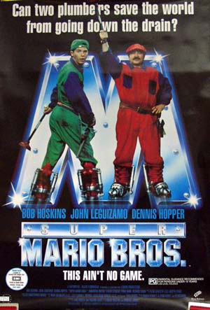 Pictured is the US promotional one-sheet poster for the 1993 Annabel Jankel and Rocky Morton film Super Mario Bros. starring Bob Hoskins.