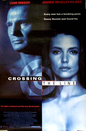 Pictured is a one-sheet promotional poster for the 1990 David Ireland film Crossing the Line, also known as the Big Man, starring Liam Neeson