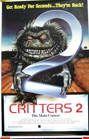 Pictured is the US promotional one-sheet poster for the 1988 Terence Mann film Critters 2, starring Terence Mann.