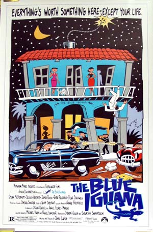 Pictured is the US one-sheet promotional poster for the 1988 John Lafia film film The Blue Iguana, starring Dylan McDermott.