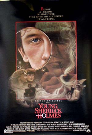 Pictured is the US promotional one-sheet poster for the 1985 Barry Levinson film Young Sherlock Holmes starring Nicholas Rowe.