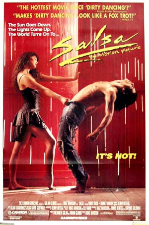 Pictured is a US video promotional poster for the 1988 Boaz Davidson film Salsa starring Bobby Rosa.