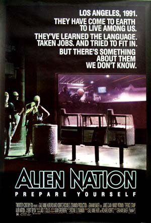 Pictured is the US promotional one-sheet poster for the 1988 Graham Baker film Alien Nation starring James Caan.