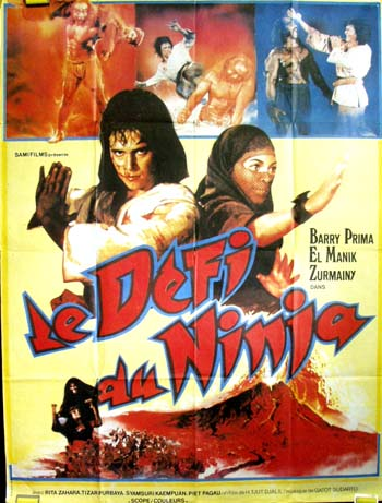 Pictured is a large French promotional poster for the 1985 H. Tjut Djalil film Jaka Sembung & Bergla Ijo starring Barry Prima.