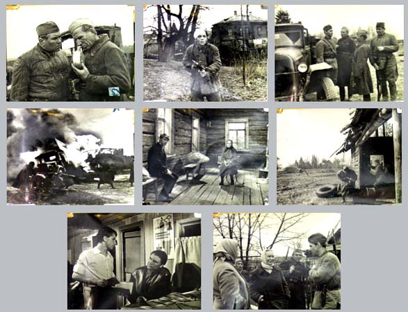 Pictured are 8 black and white still photographs from the 1971 Igor Shatrov film A Minute of Silence starring Galina Fedotova.