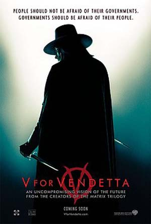 Pictured is the US one-sheet advance promotional poster for the 2005 James McTeigue film V for Vendetta starring Natalie Portman and Hugo Weaving.