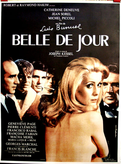 Pictured is a French Grande  promotional poster for the 1967 Luis Bunuel film Belle de Jour starring Catherine Deneuve.