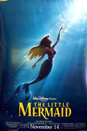 Pictured is a US advance promotional poster for a 1997 rerelease of the 1989 Ron Clements and John Musker film The Little Mermaid, starring Jodi Benson.