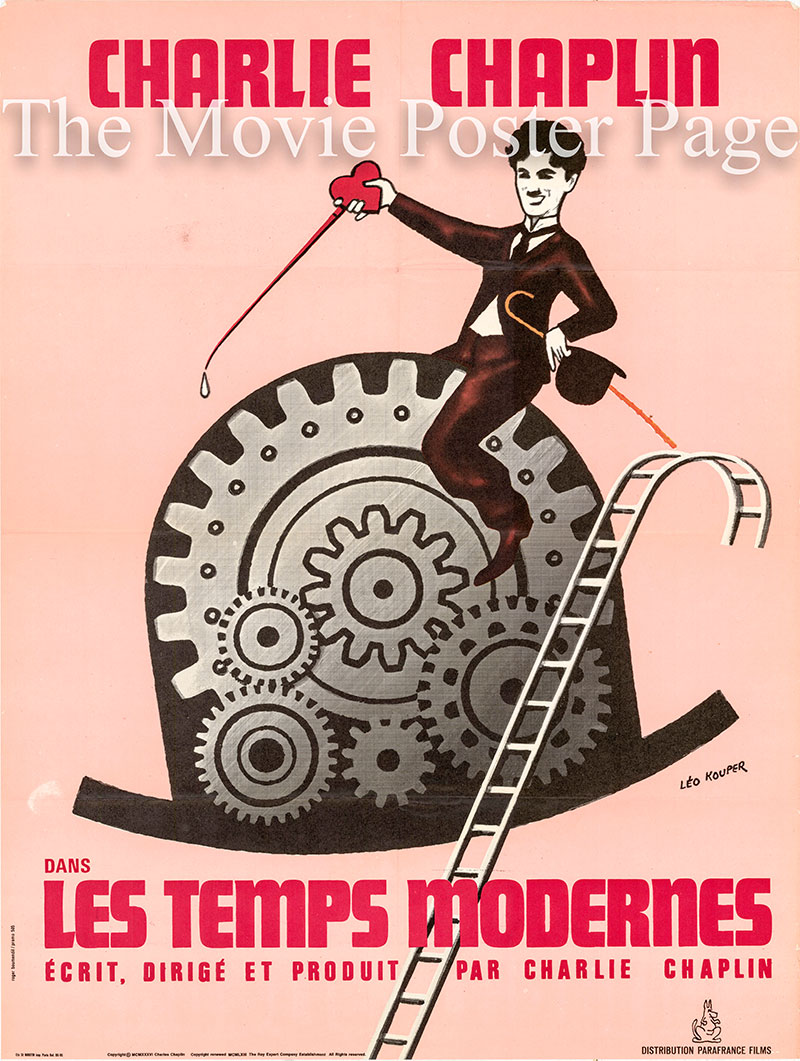 Pictured is a 1970s French rerelease promotional poster for the 1936 Charlie Chaplin film Modern Times starring Charlie Chaplin.