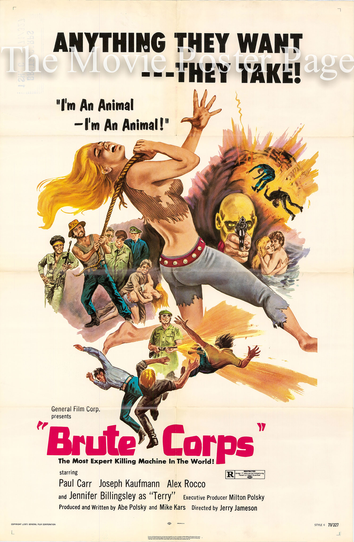 Pictured is the style C US one-sheet promotional poster for the 1972 Jerry Jameson film Brute Corps starring Paul Carr.