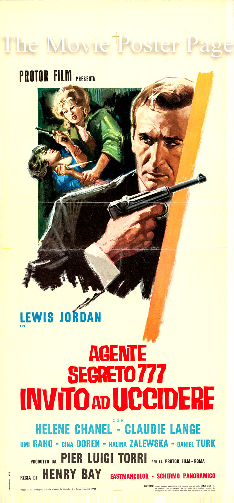 Pictured is an Italian locandina promotional poster for the 1966 Encroco Bomba film Ticket to Die starring Tiziano Cortini as Lewis Jordan, agente 777.