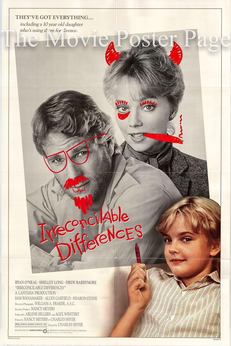 Pictured is a US promotional one-sheet poster for the 1984 Charles Shyer film Irreconcilable Differences starring Ryan O'Neal.