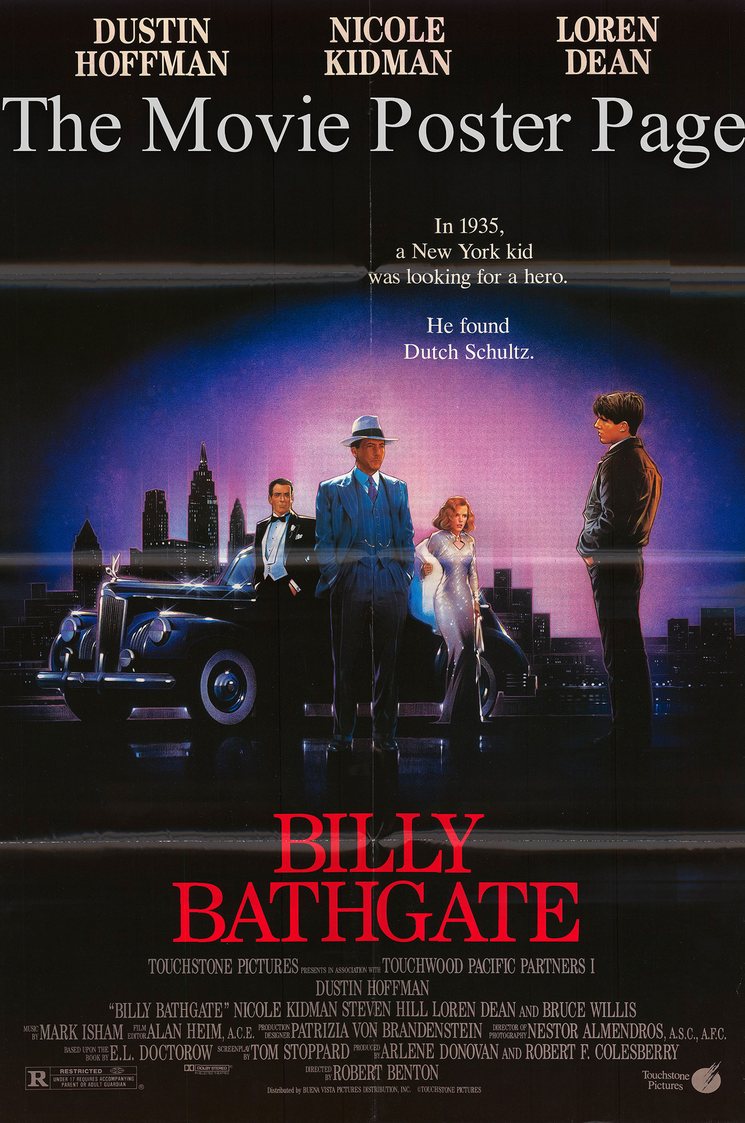 Pictured is a US one-sheet poster for the 1991 robert Benton film Billy Bathgate starring Dustin Hoffman.