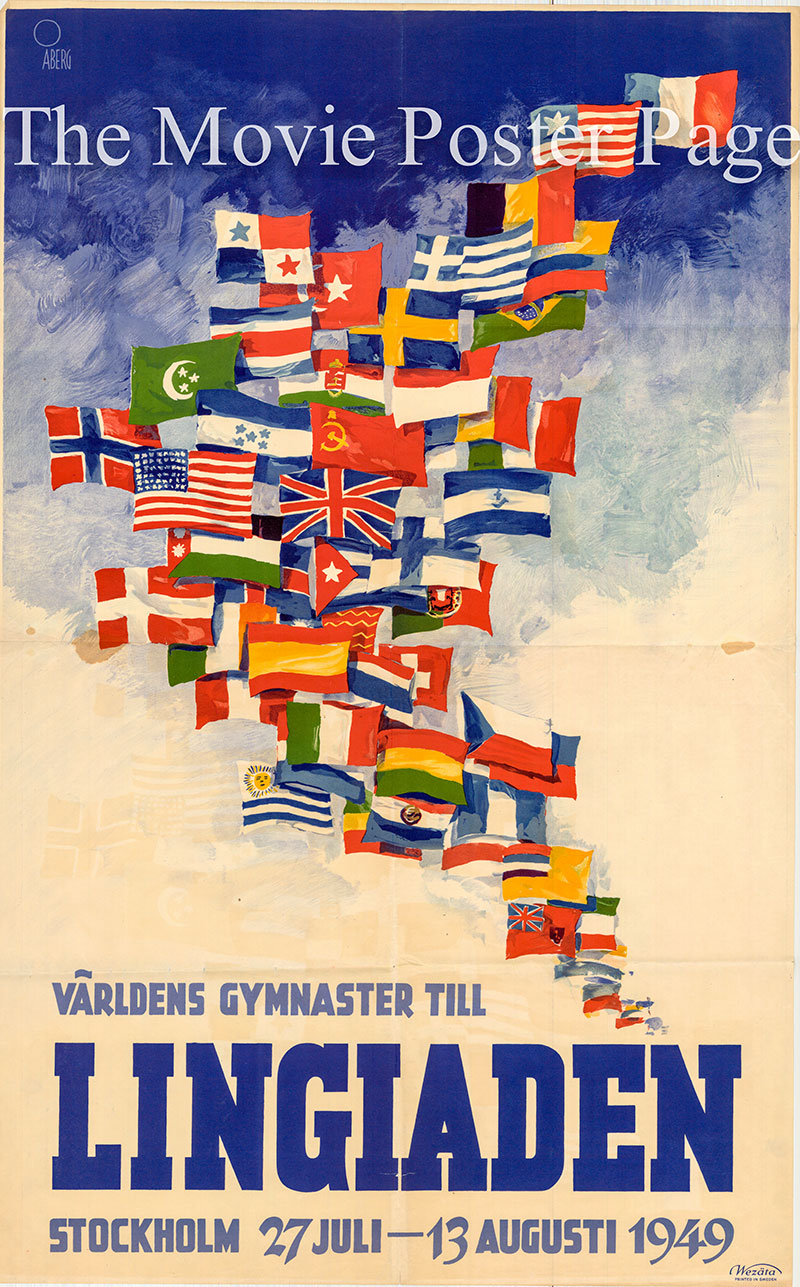 Pictured as a 1949 promotional poster for the second Lengiad Gymnastics games held in Stockholm Sweden in 1949.
