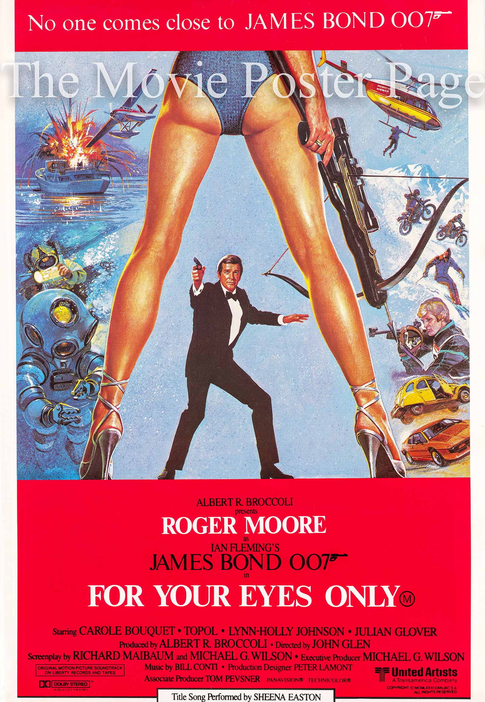 This is an image of an Australian promotional poster for the 1981 John Glen film For Your Eyes Only starring Roger Moore.