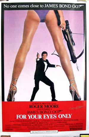 This is an image of a rolled US promotional poster for the 1981 John Glen film For Your Eyes Only starring Roger Moore, signed by poster designer Larry Green.