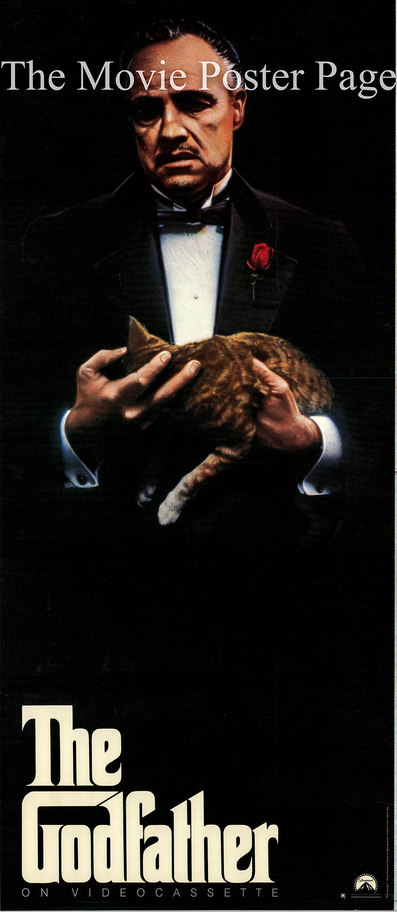 Pictured is a video door panel promotional poster for a 1991 rerelease of the 1972 Francis Ford Coppola film The Godfather starring Marlon Brando.