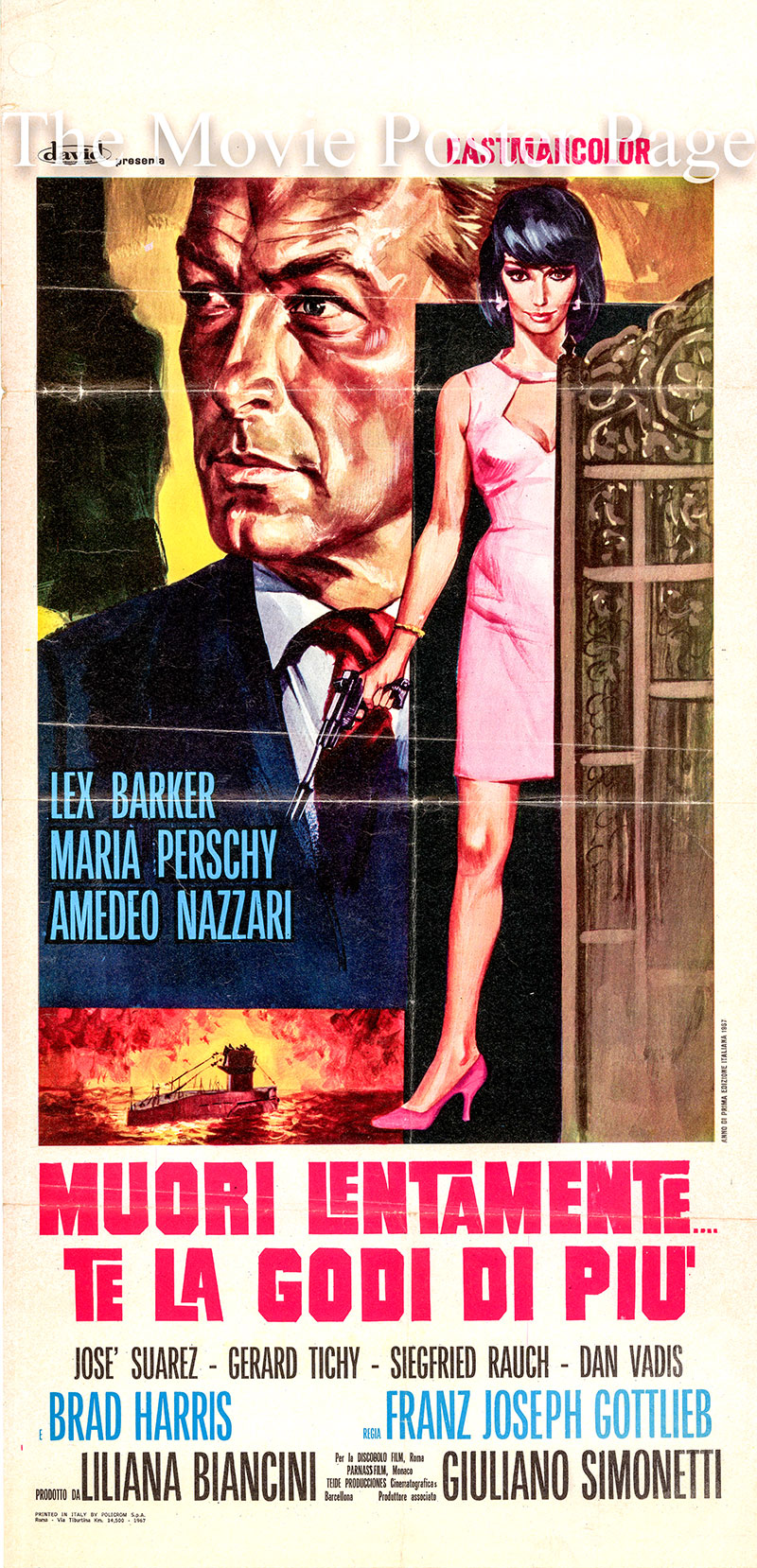 Pictured is an Italian locandina promotional poster for the 1967 Franz Josef Gottlieb film Spy Today Die Tomorrow starring Lex Barker.