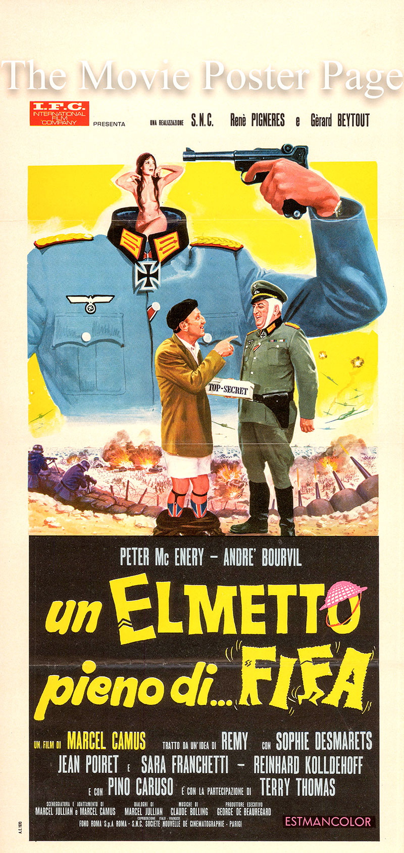Pictured an Italian promotional locandina poster for the 1970 Marcel Camus film Atlantic Wall starring Bourvil as Léon Duchemin.