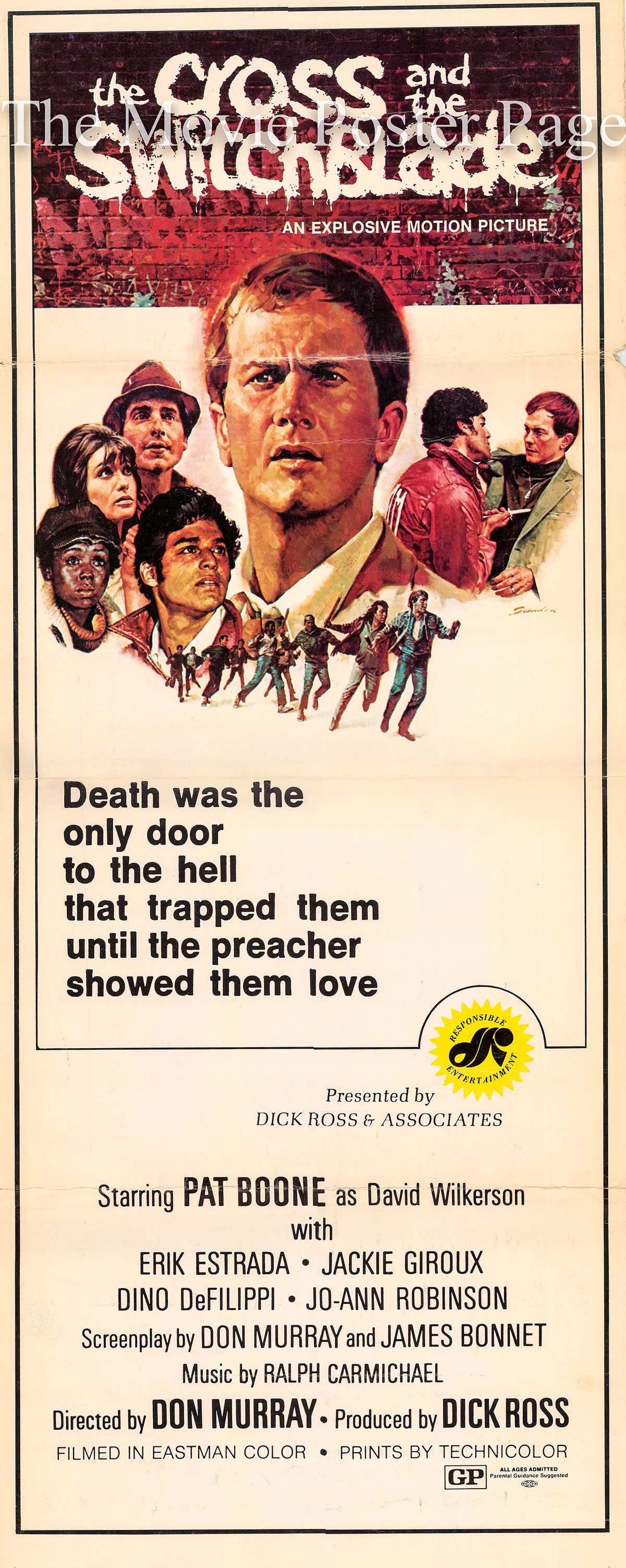 Pictured is a US insert promotional poster for the 1970 Don Murray film The Cross and the Switchblade  starring Pat Boone.