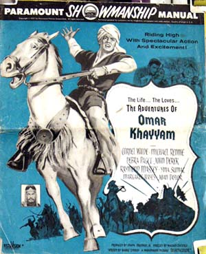 Pictured is a US promotional press book for the 1957 William Dieterle film Omar Khayyam starring Cornel Wilde.
