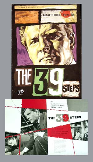 Pictured is a UK promotional program for the 1959 Ralph Thomas film The 39 Steps starring Kenneth More.