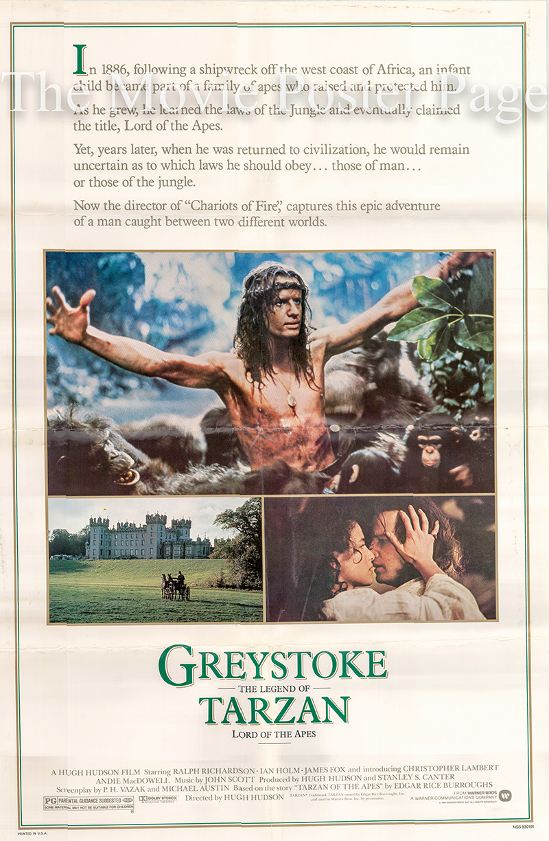 Pictured is a US 30x40 poster for the 1984 Hugh Hudson film Greystoke Legend of Tarzan starring Christopher Lambert as Tarzan.