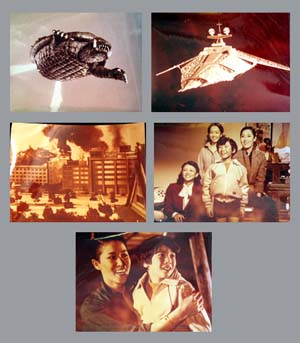 Pictured are 5 Japanese sepia  stills for the 1980 Noriaki Yausa film Gamera Super Monster starring Mach Fumiake.