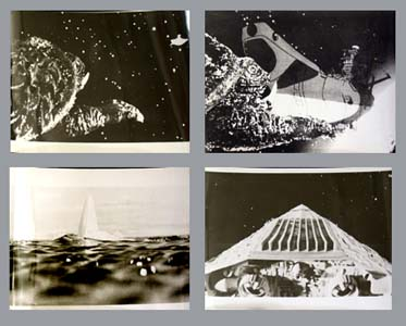 Pictured are 4 Japanese black and white  stills for the 1980 Noriaki Yausa film Gamera Super Monster starring Mach Fumiake.