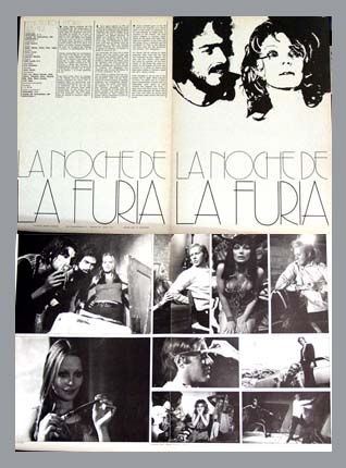 Pictured is a Spanish promotional program for the 1974 Carlos Aured film Night of Fury starring Glen Lee.