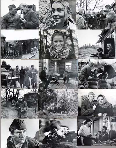 Pictured are 15 black and white still photographs from the 1971 Igor Shatrov film A Minute of Silence starring Galina Fedotova.