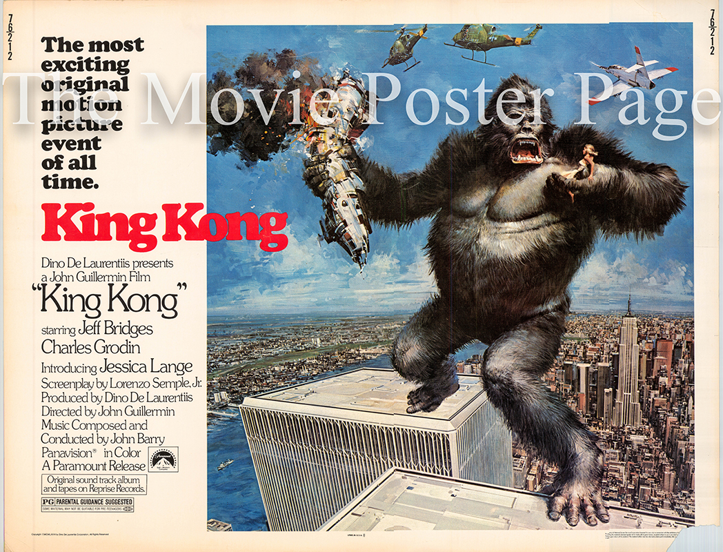 Pictured is a US half-sheet promotional poster for the 1976 John Guillermin film King Kong starring Jeff Bridges and Jessica Lange.