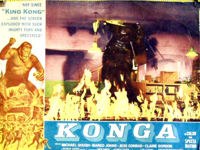 Pictured is a US promotional lobby card for the 1961 John Lemont film Konga starring Michael Gough.