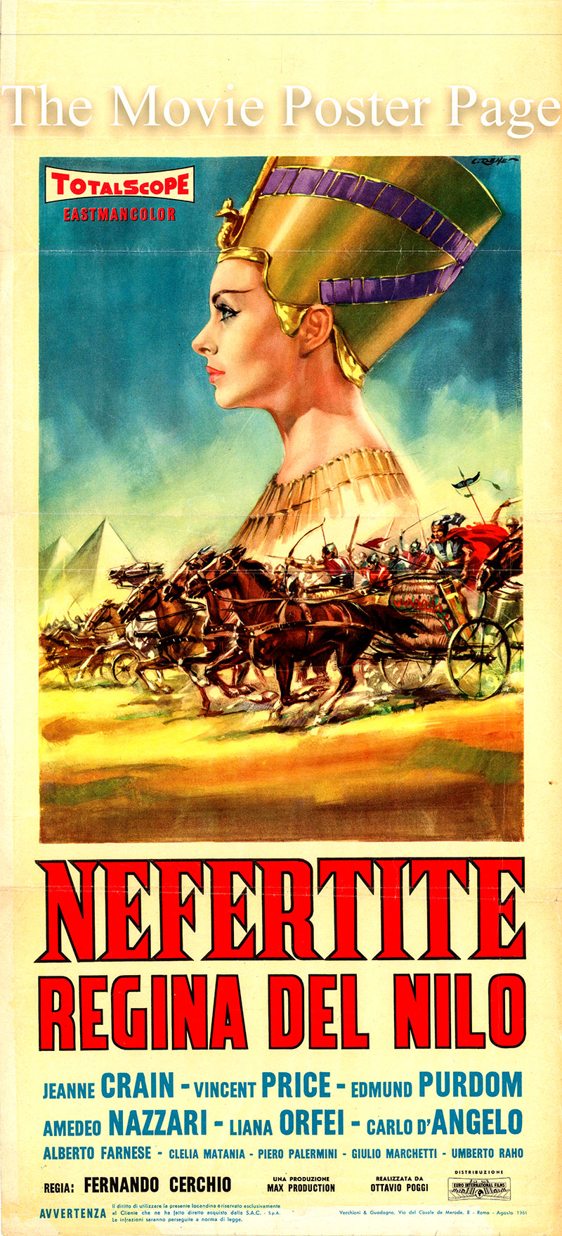 Pictured is an Italian locandina promotional poster for the 1961 Fernando Cerchio film Nefertitie Queen of the Nile starring Jeanne Crain and Vincent Price.